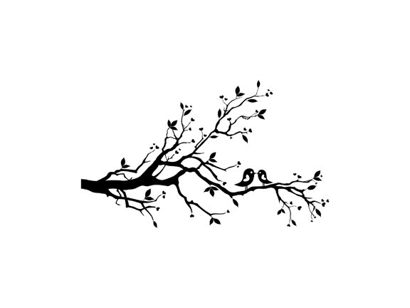 Birds On A Tree Limb Clipart.