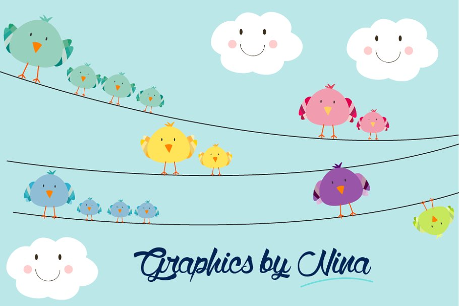 Birds on Wires Clipart.