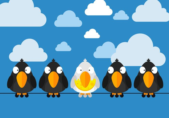 Free Birds Sittings On Wire Vector.