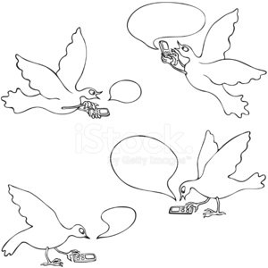Birds Texting on cell phones Clipart Image.