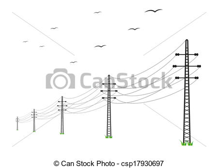 EPS Vectors of high voltage power lines and birds on white.