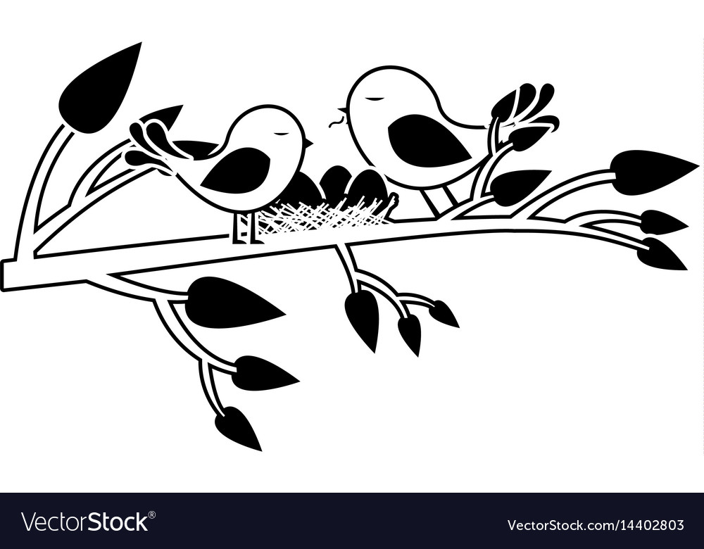 Black silhouette of birds and nest in tree branch.