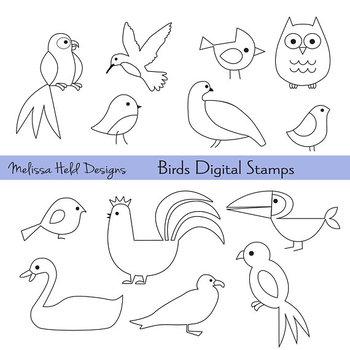 Bird Outlines Digital Stamps Clipart.