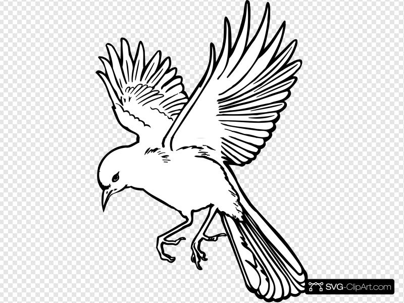 Landing Bird Outline Clip art, Icon and SVG.