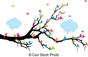 Birds Sitting On A Tree Clipart Clipground