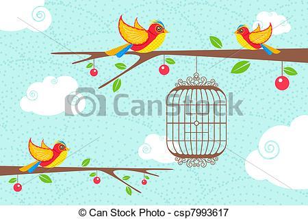 Vectors Illustration of Cute Birds sitting on tree.