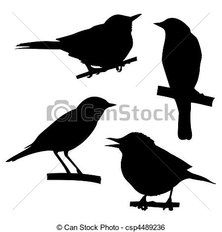Clip Art Vector of vector silhouettes of the birds sitting on.