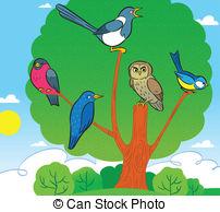 Vectors Illustration of red bird sitting on cherry tree blo.