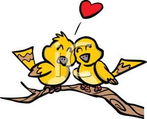 Love Birds Sitting On a Tree Branch Clip Art.