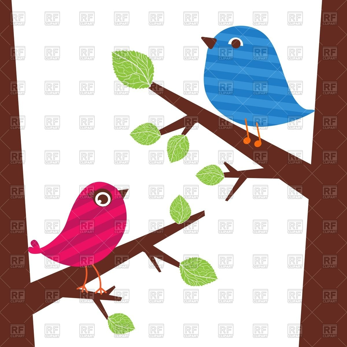 Couple of cute birds sitting on the tree branch Vector Image.