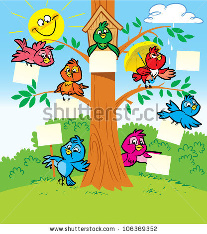 Several Funny Cartoon Birds Sitting On Stock Vector 106369352.