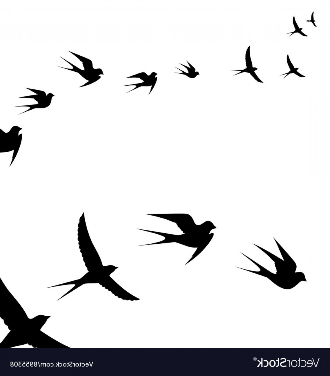 A Flock Of Flying Birds Vector.