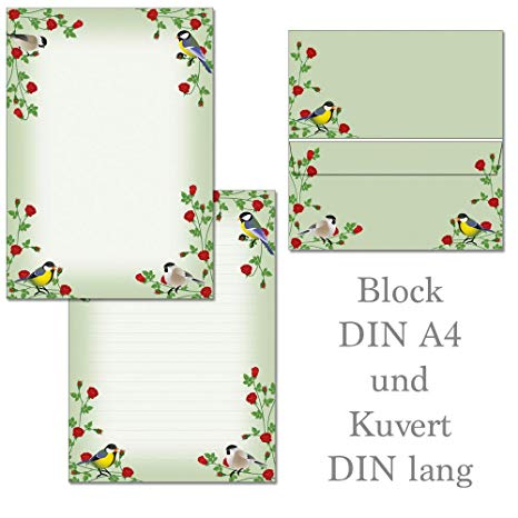 1 Writing Pad Red Roses and Colourful Birds 25 Sheets with.