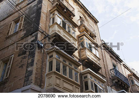Stock Photography of Building With Enclosed Balconies, Vittoriosa.