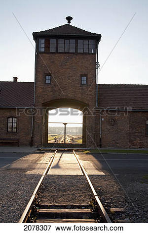 Picture of Main Guard House (Gate Of Death) At Sunset, Auschwitz.