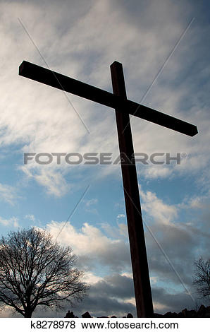 Pictures of Large Cross Over Sky With Clouds k8278978.