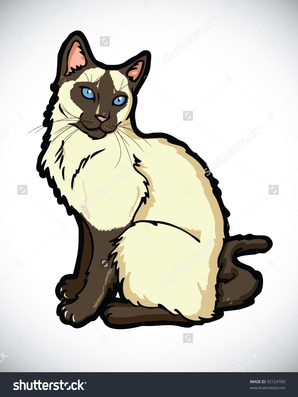 Siamese Cartoon Cat Vector Stock Vector 92124769.