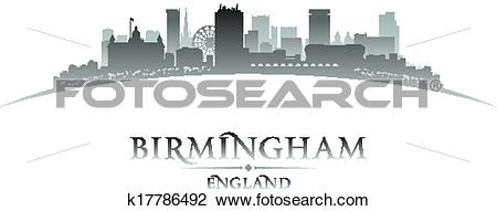 Clipart of Birmingham England city skyline silhouette white.