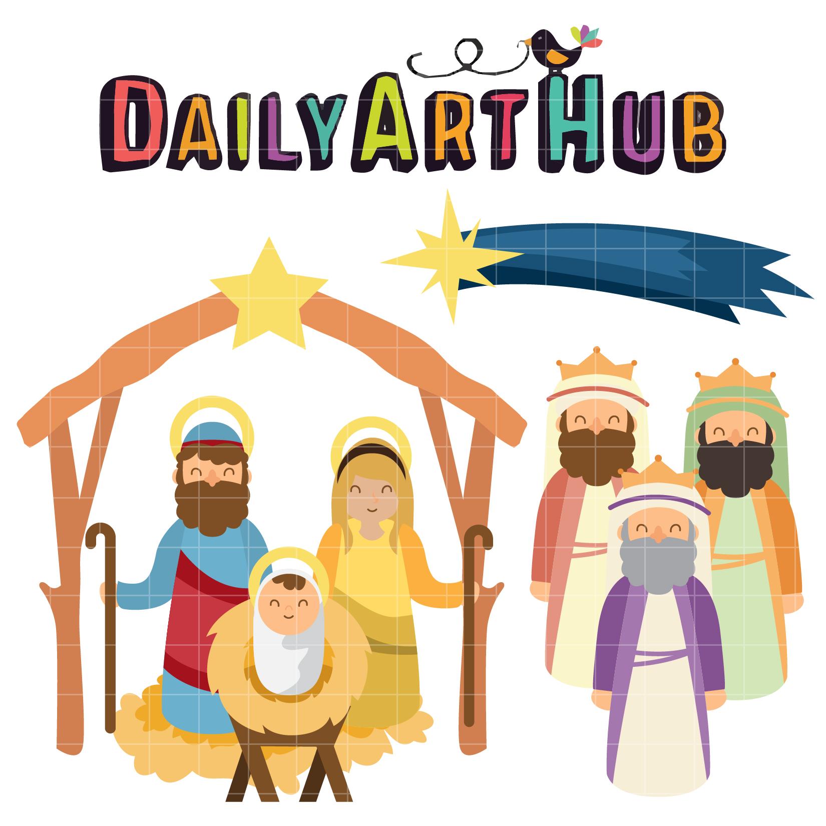 Birth of Jesus Christ Clip Art Set.