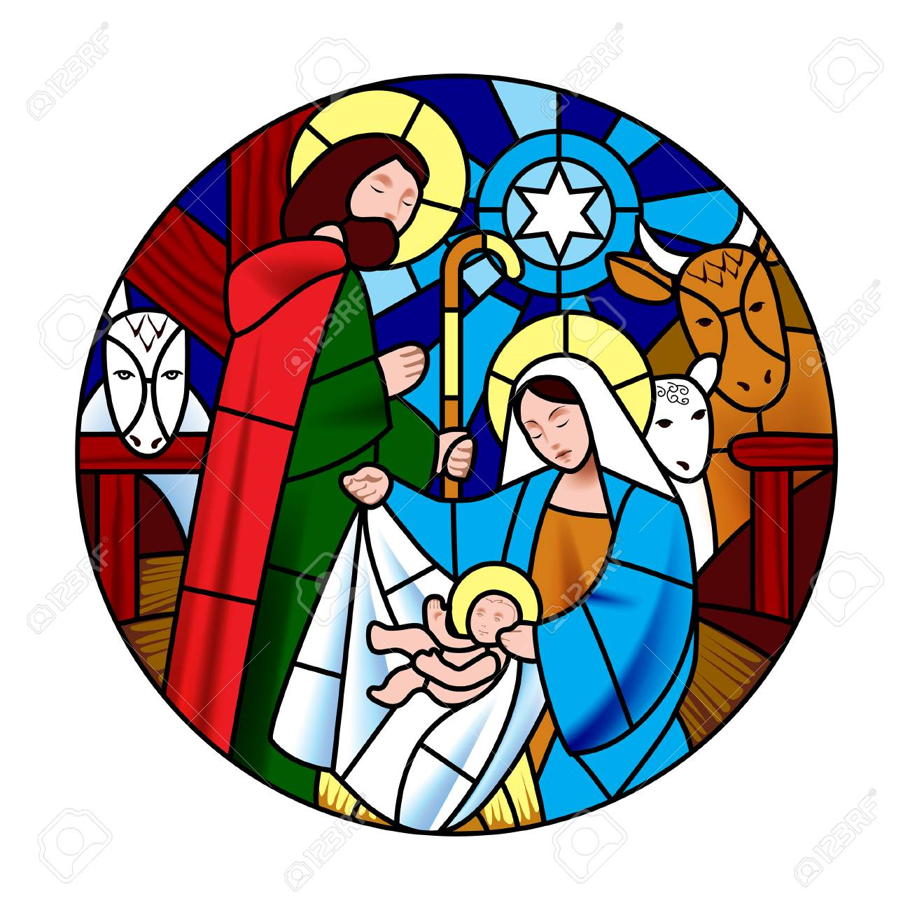 Circle shape with the birth of Jesus Christ scene in stained...