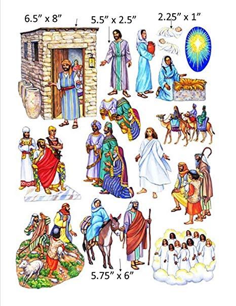 Birth of Jesus Felt Figures for Flannel Board Bible Stories.