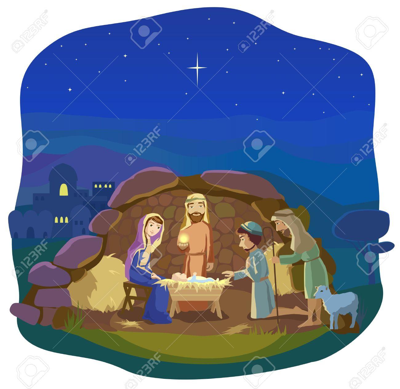 Christmas night. Birth of Jesus Christ in Bethlehem. Josef,...