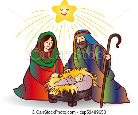 Illustration of christmas (Jesus Christ), cartoon on white background,.