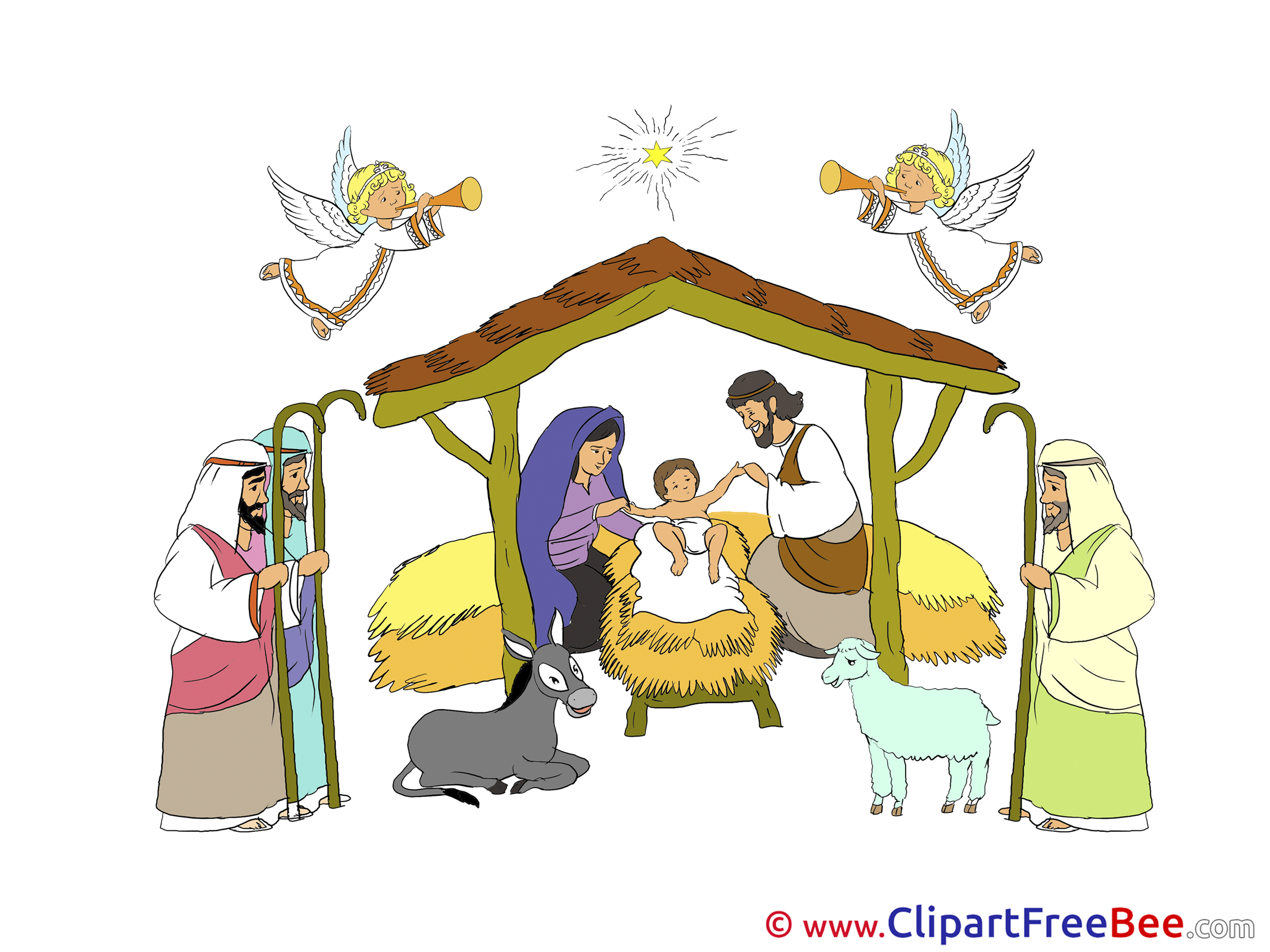 Birth of Jesus Clipart Christmas Illustrations.