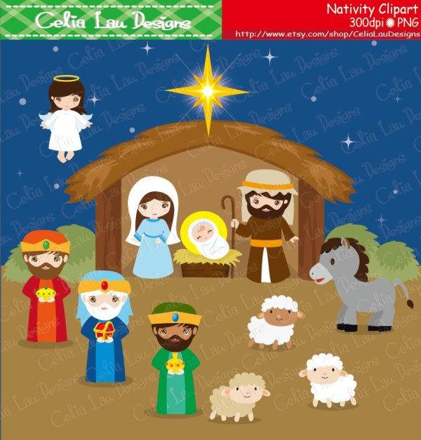 NATIVITY Birth of Jesus Clipart Christmas Clipart.