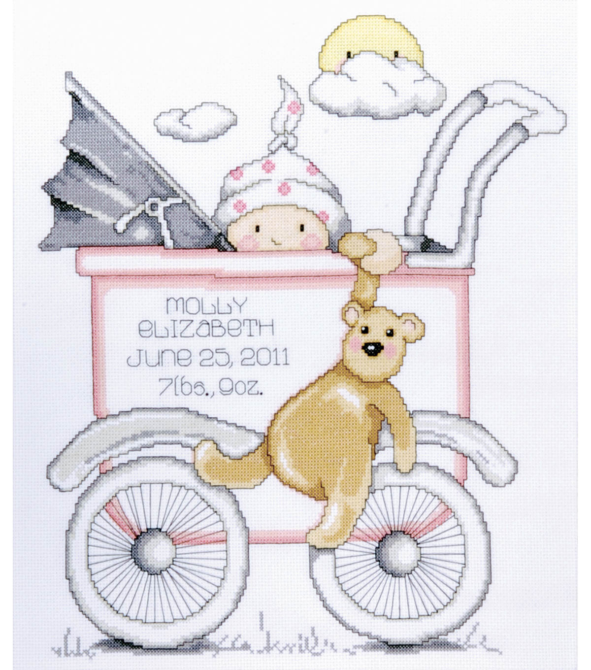 Tobin Baby Buggy Girl Birth Record Counted Cross Stitch Kit.