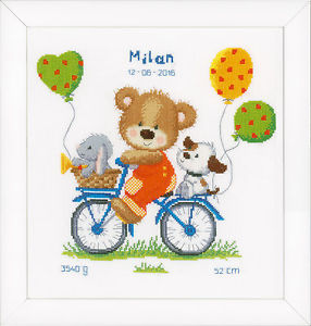 Cycling Bear : Birth Record : Vervaco Counted Cross Stitch Kit.