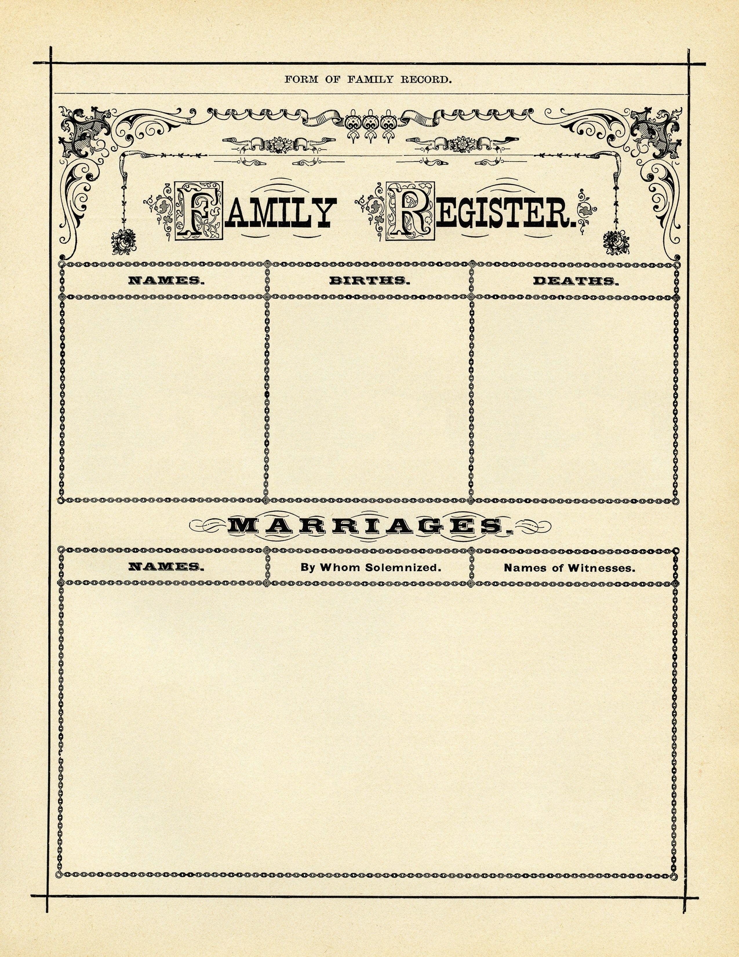 antique family register, genealogy form, family history form.