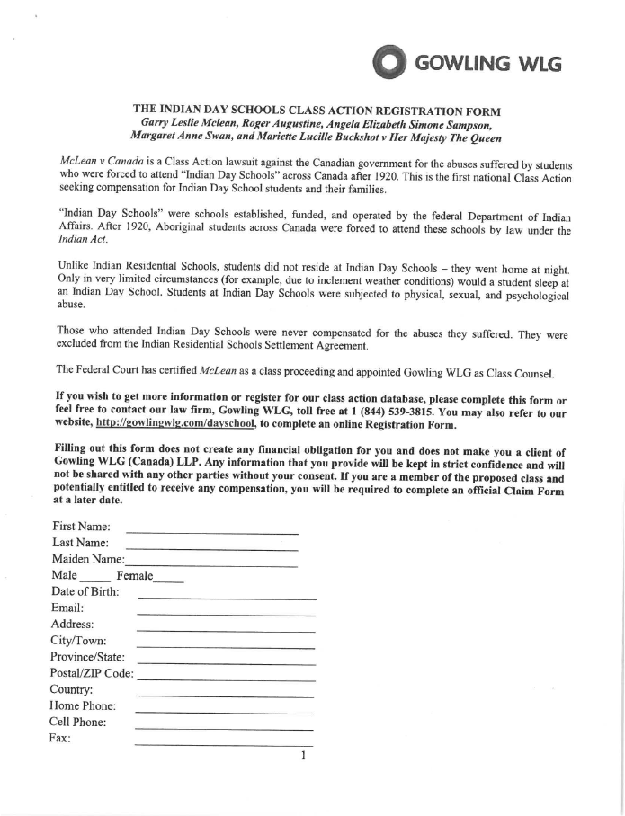 Indian Day School Class Action Registration Form — Tla.