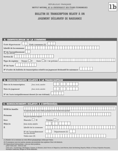 Sample birth registration form.