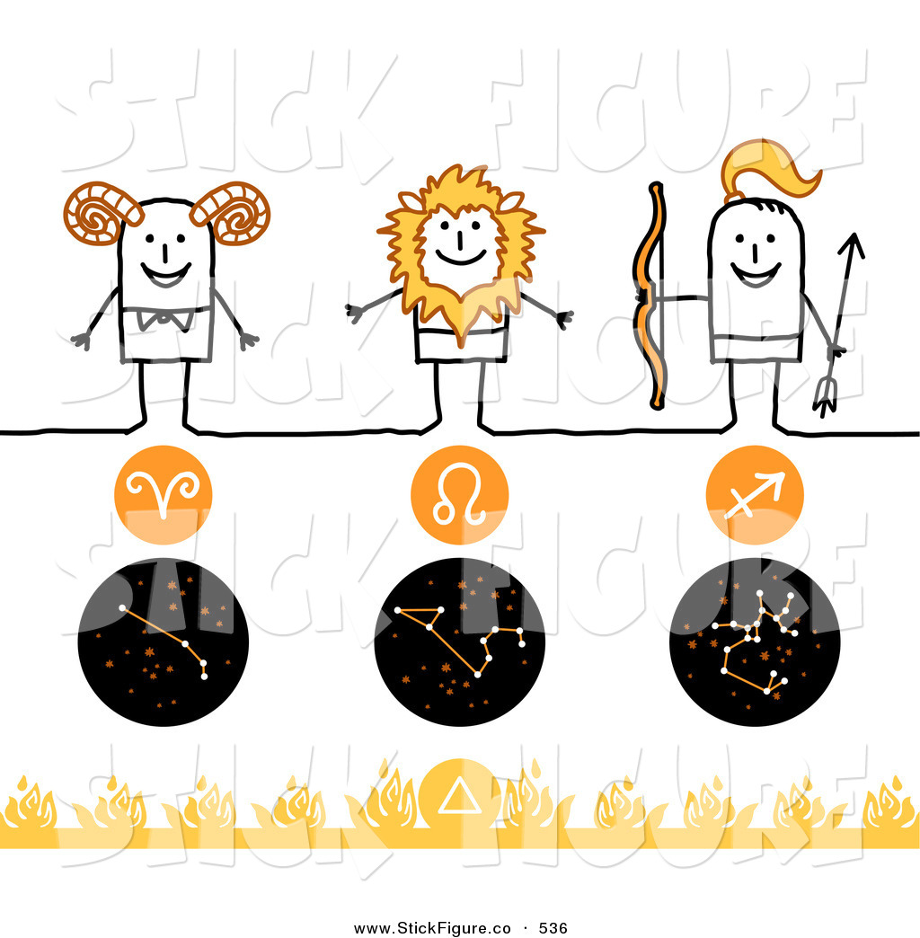 Royalty Free Birth Sign Stock Stick Figure Designs.