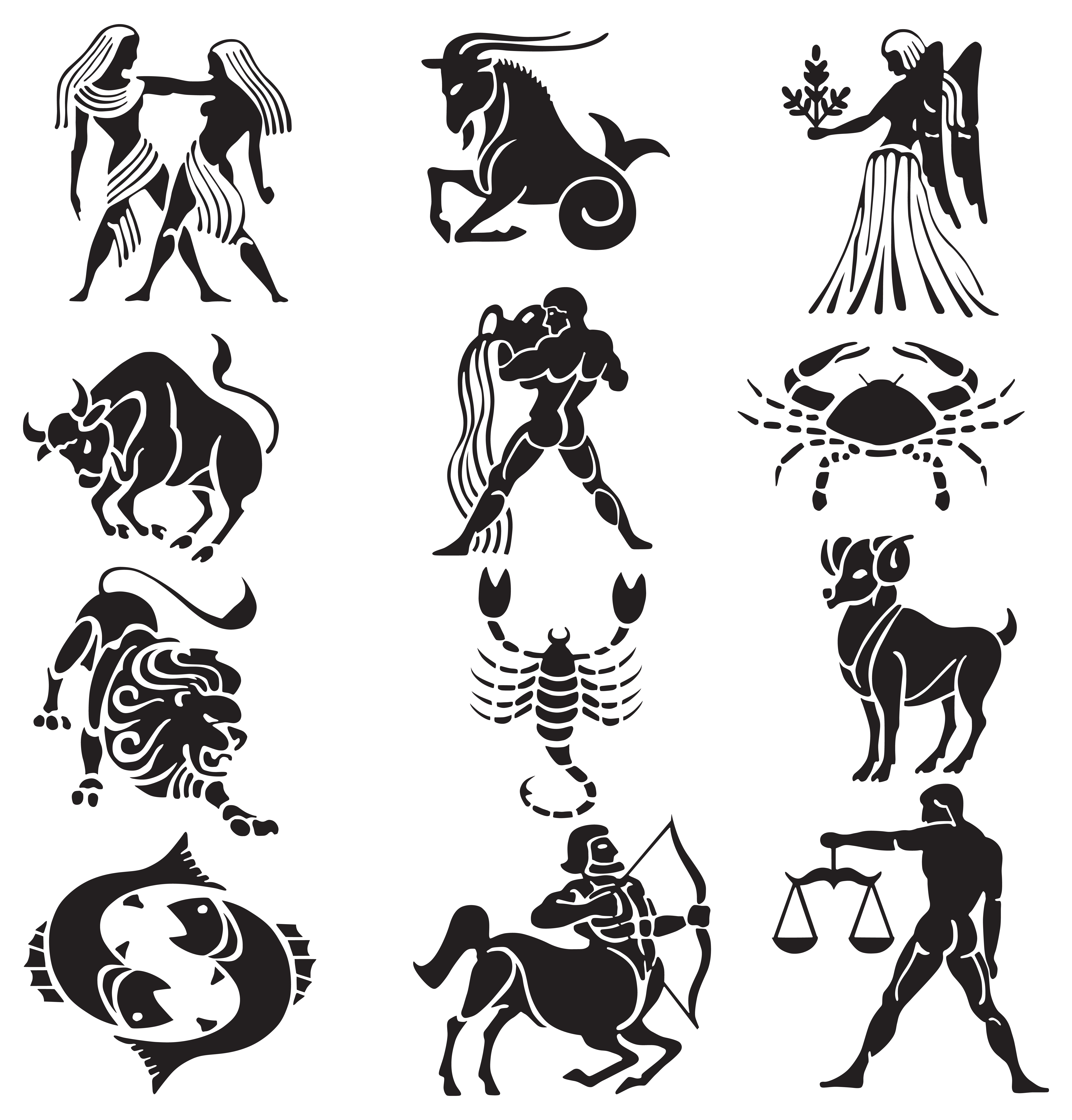 Transparent Zodiac Signs Set PNG Clipart.