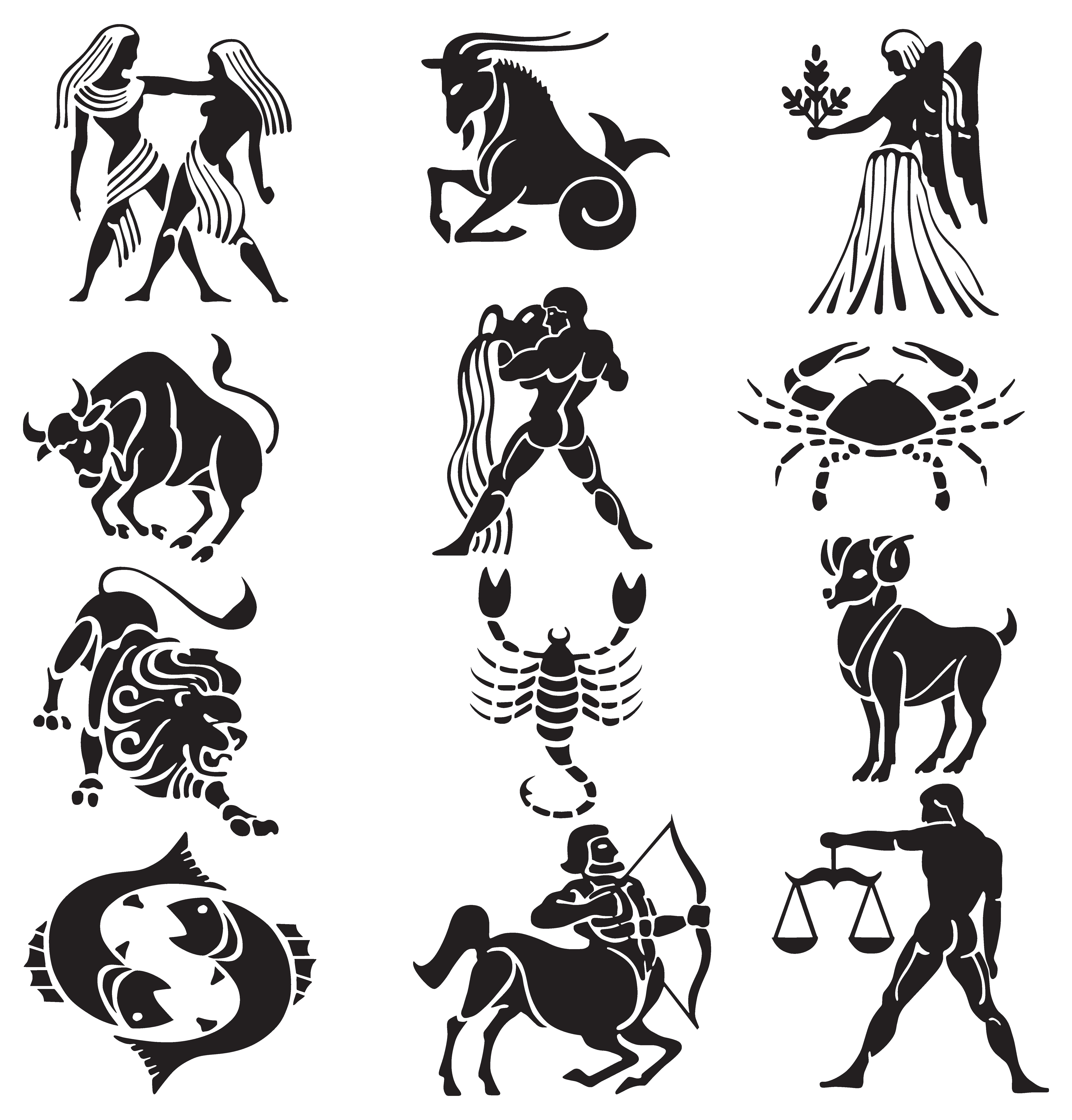 Transparent Zodiac Signs Set PNG Clipart.