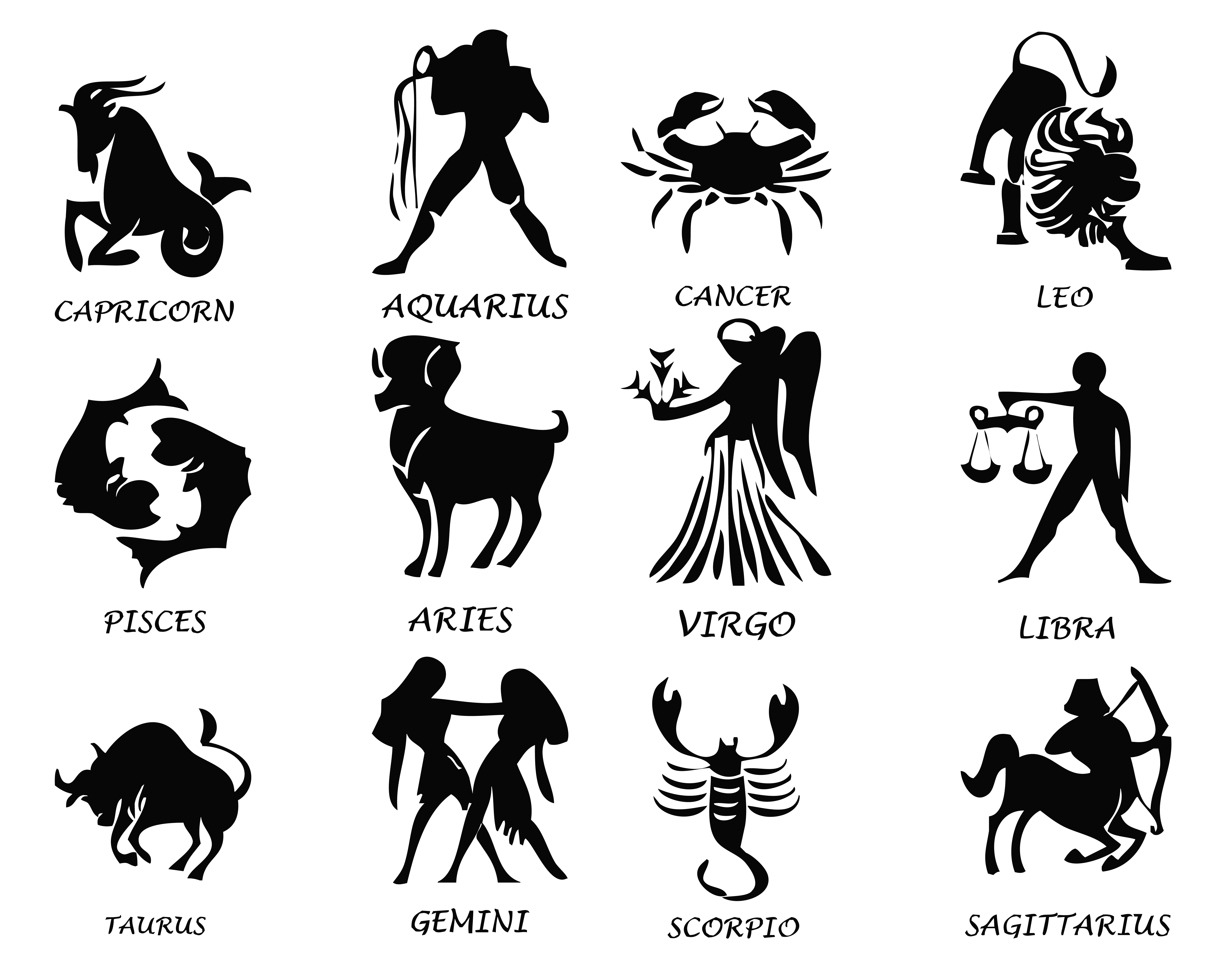 Transparent Zodiac Signs Set PNG Image.