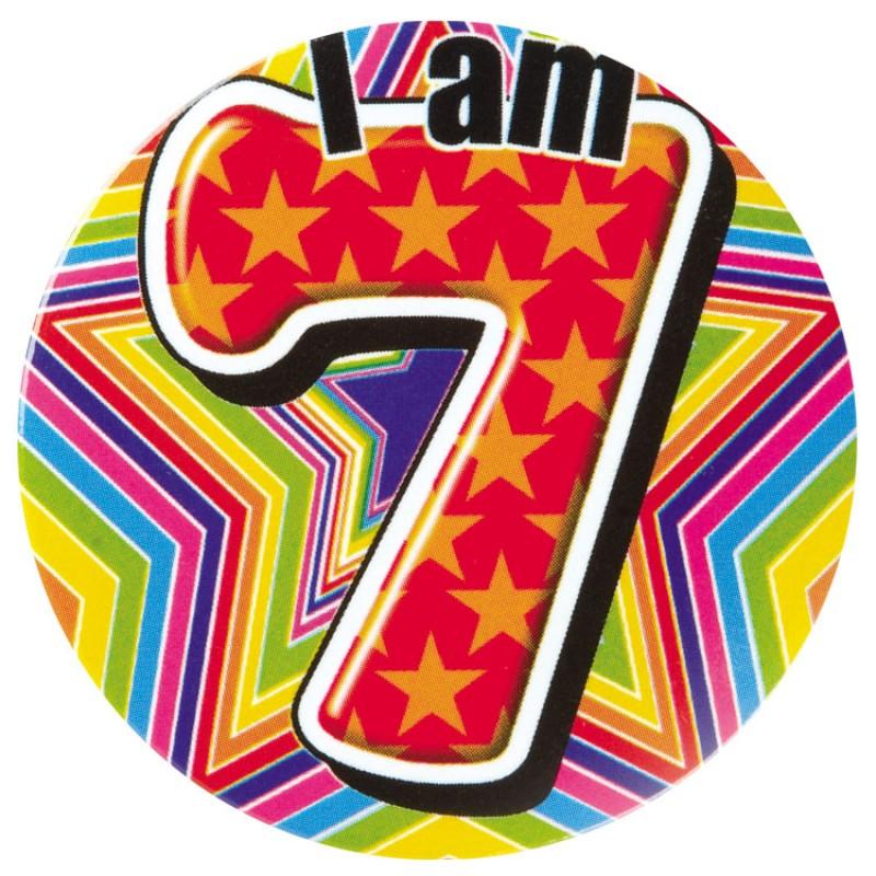 Happy Birthday Boy Age 7 Badge.