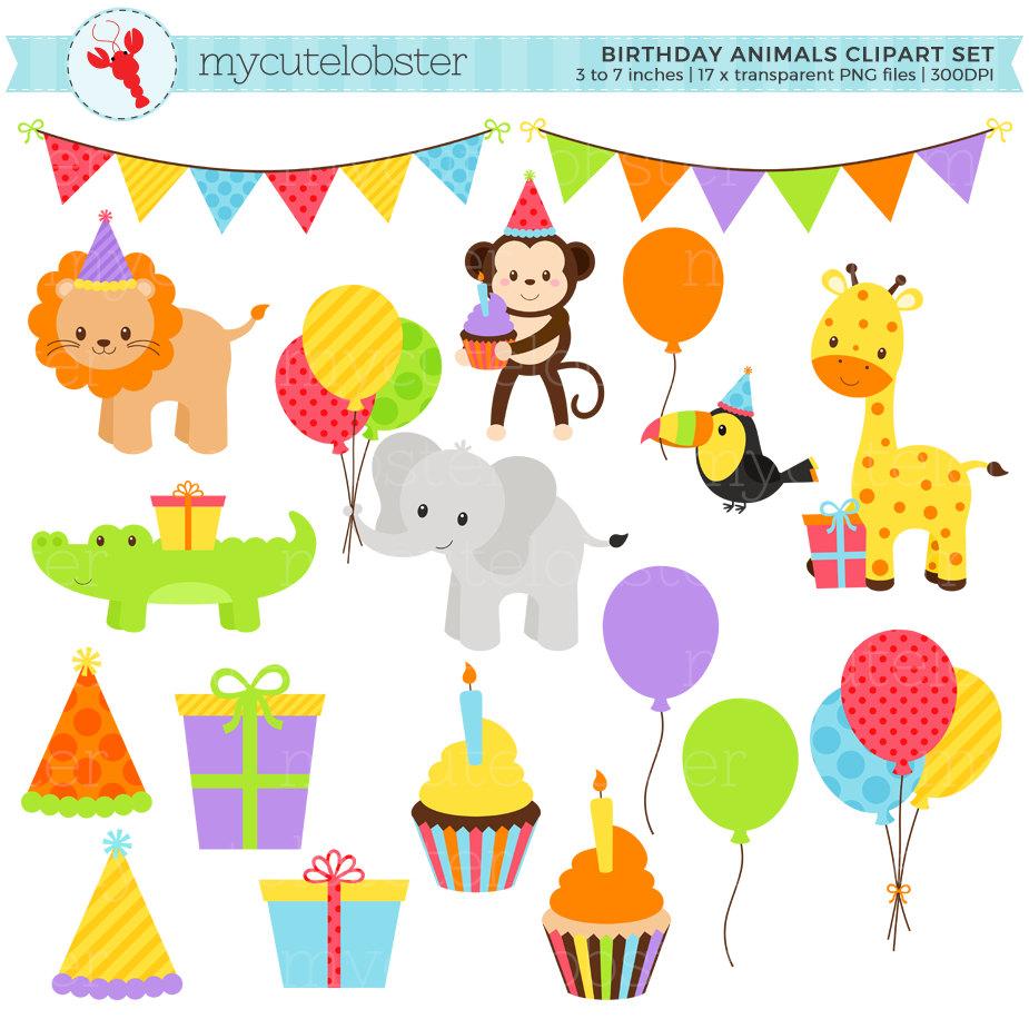 Birthday Animals Clipart Set.