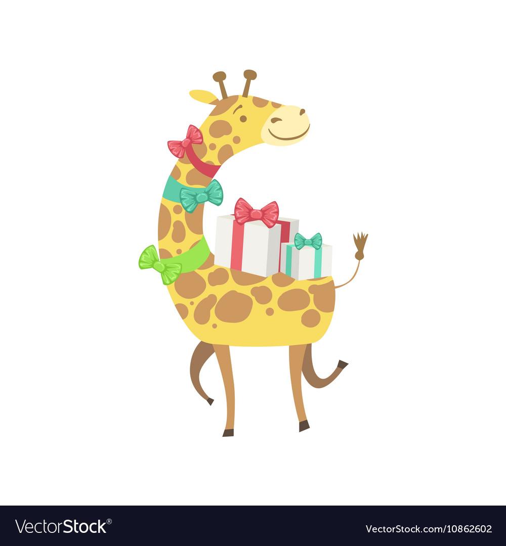 Giraffe Cute Animal Character Attending Birthday.