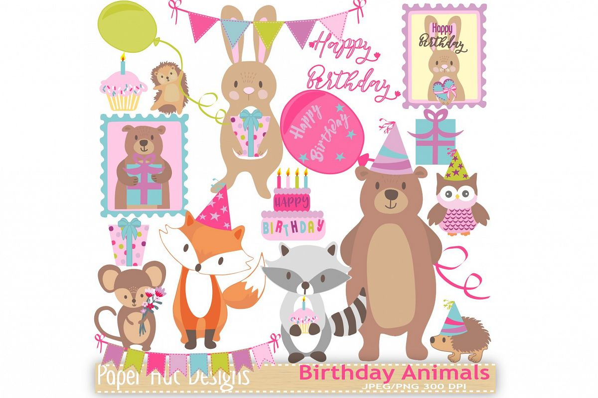 Birthday Animals Clipart.