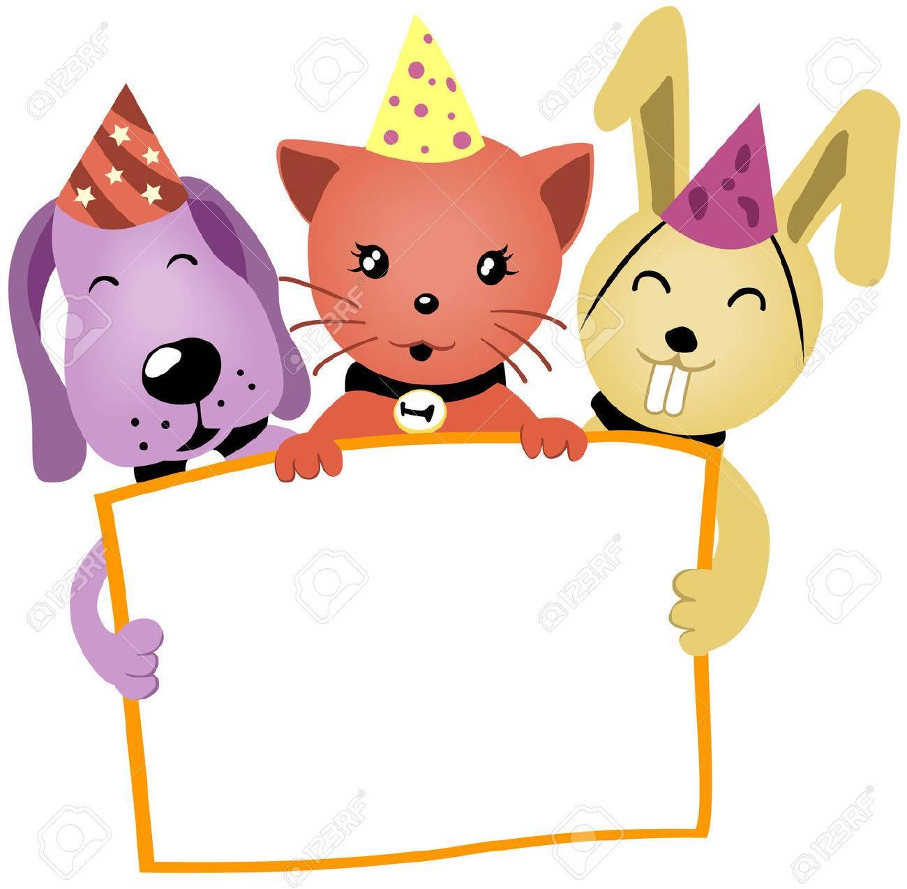 Birthday Animals holding a blank board.