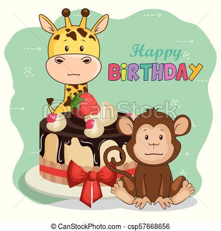 happy birthday card with cute animals.