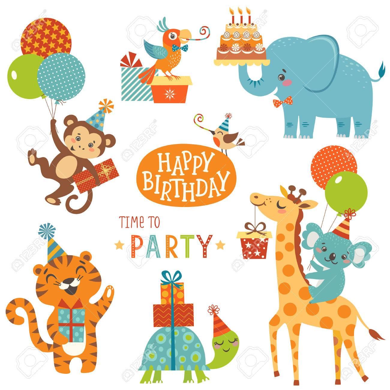 Set of cute animals for happy birthday design.