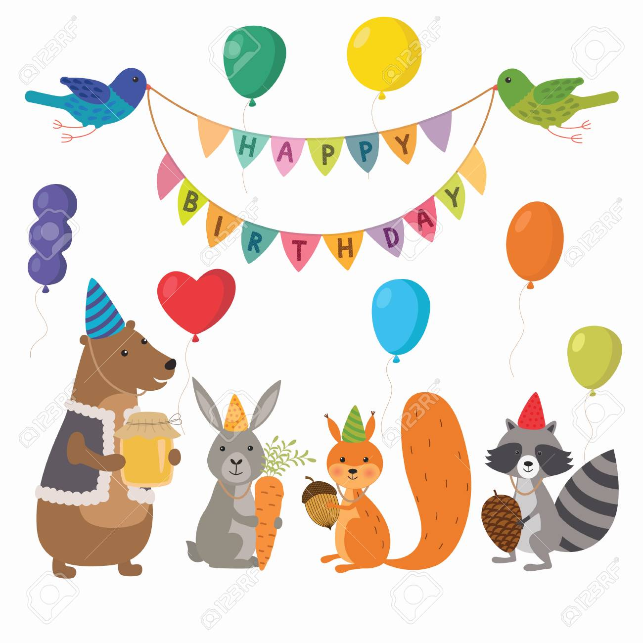 Cute cartoon forest animals illustration for birthday card template.