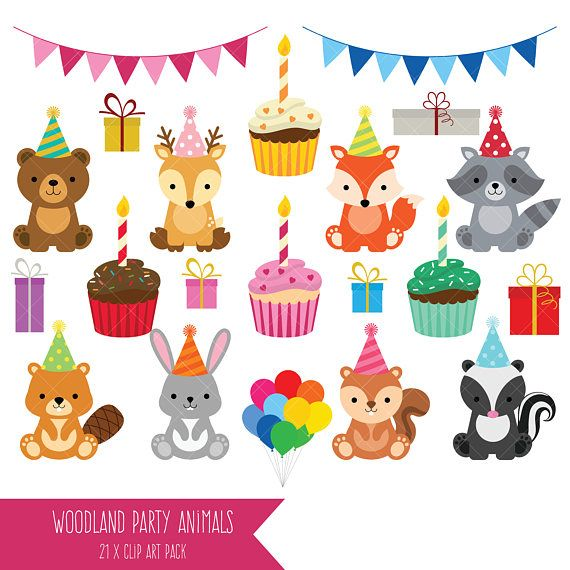 Woodland Party Animals Clipart.
