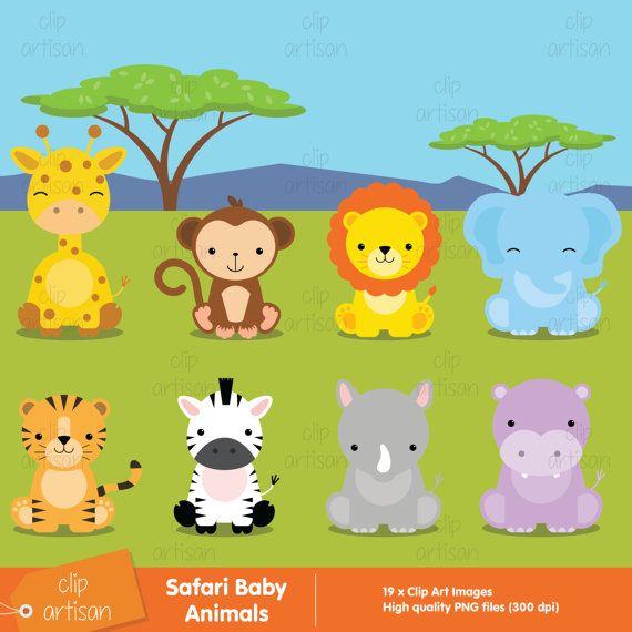 Safari Baby Animals Clipart / Jungle Animals Clipart / Zoo.