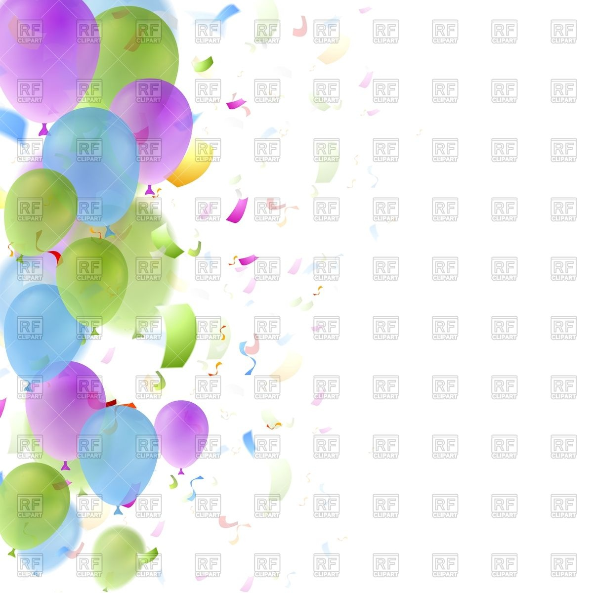 Balloons and confetti birthday background Stock Vector Image.