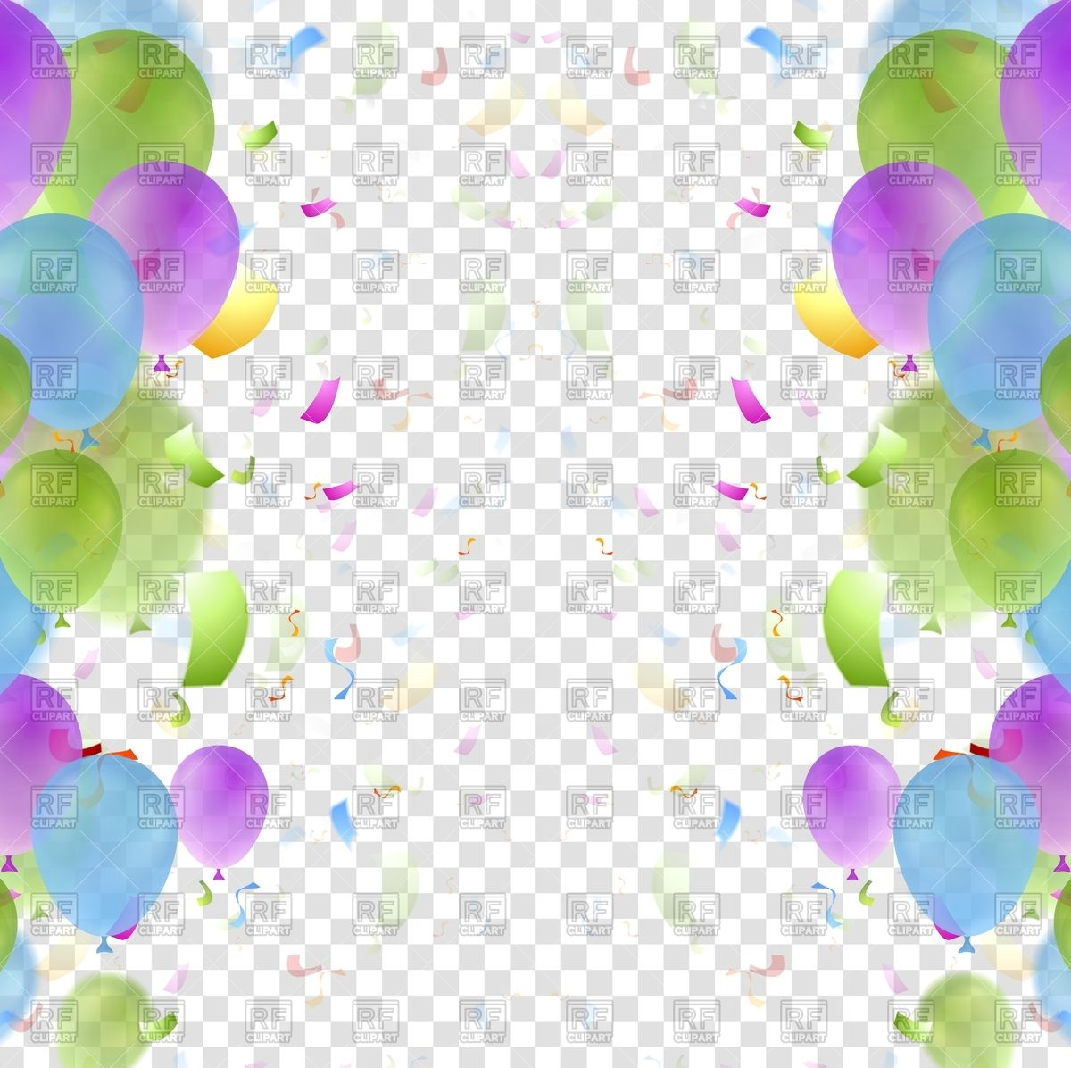 Bright balloons and confetti birthday background Stock Vector Image.